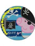 7.5 Personalised Pirate George Pig Icing or Wafer Cake Top Topper NEW